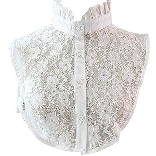 YAKEF Lady Half-Shirt Blouse Detachable Lace Chiffon Fake Collars Dicky Collar Faux Collar (42white)