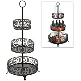 3 Tier Black Metal Scrollwork Design Round Nail Polish Rack / Display Stand / Cosmetics Makeup Organizer