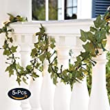JUSTOYOU 5Pcs 44Ft Ivy Garland Artificial Plants Vines Hanging Greenery Fake Leaves Flower for Wedding Outside Party Home Decor