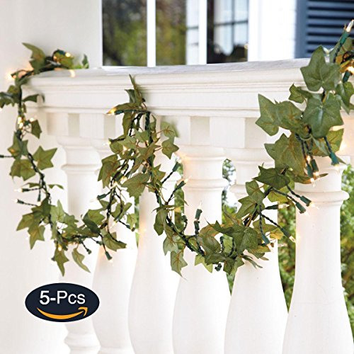 JUSTOYOU 5Pcs 44Ft Ivy Garland Artificial Plants Vines Hanging Greenery Fake Leaves Flower for Wedding Outside Party Home Decor by JUSTOYOU