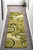 Cheap Echo Shapes & Circles Light Green Modern Geometric Comfy Casual Hand Carved Runner Rug 2×7 ( 2′ x 7′ ) Easy Clean Stain Fade Resistant Shed Free Abstract Contemporary Thick Soft Plush Living Room