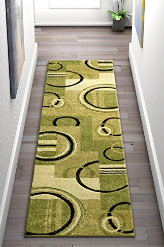 Contemporary Green - Echo Shapes & Circles Light Green Modern Geometric Comfy Casual Hand Carved Runner Rug 2x7 ( 2' x 7' ) Easy Clean Stain Fade Resistant Shed Free Abstract Contemporary Thick Soft Plush Living Room
