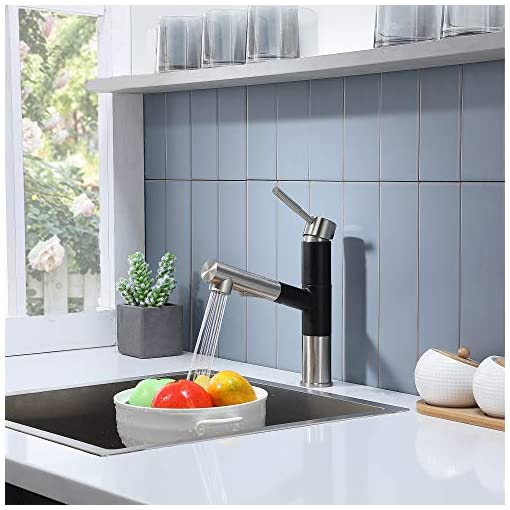 Kitchen Friho Modern Best Commercial Stainless Steel Single Lever Single Handle Pull Out Sprayer Prep Kitchen Sink Faucets… modern sink faucets