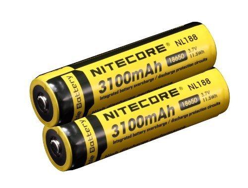 2 Pack Nitecore NL188 3100mAh Protected Rechargeable 18650 Batteries - designed for Nitecore MT2C, MT25, MT26, EC25, P16, P25, SRT5, SRT6, SRT7 etc