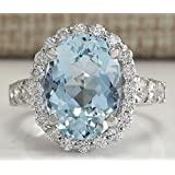 Sumanee Fashion Women 925 Silver Oval Aquamarine Gemstone Wedding Ring New Size 6-10 (10)