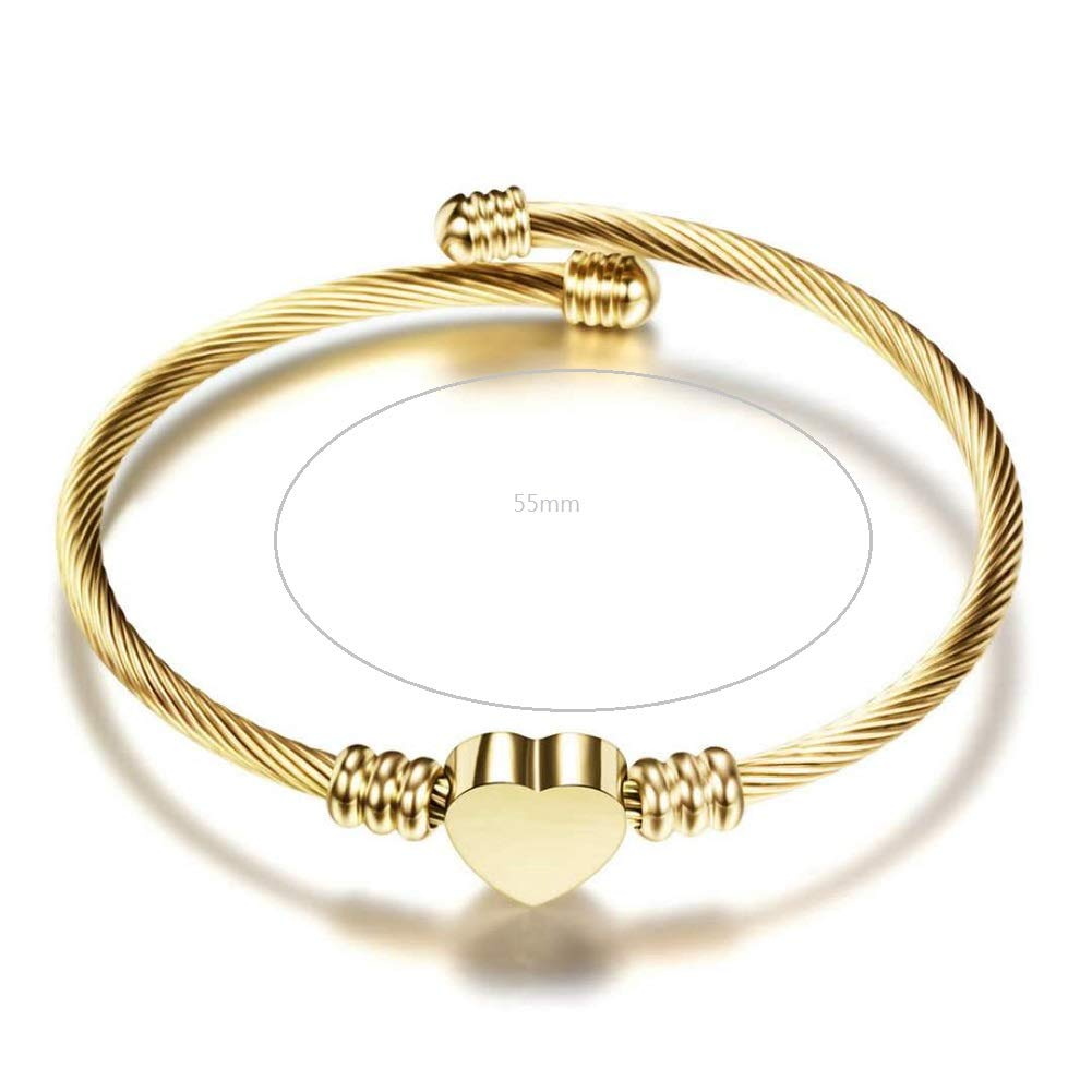 JMQJewelry Fashion Stainless Steel Triple Three Stackable Cable Wire Twisted Bangle Bracelets Set for Women