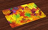 best ideas for patio design photos Ambesonne Fall Place Mats Set of 4, Different Colored Vibrant Many Autumn Maple Leaves Nature in November Scenery Photo, Washable Fabric Placemats for Dining Room Kitchen Table Decor, Yellow Purple