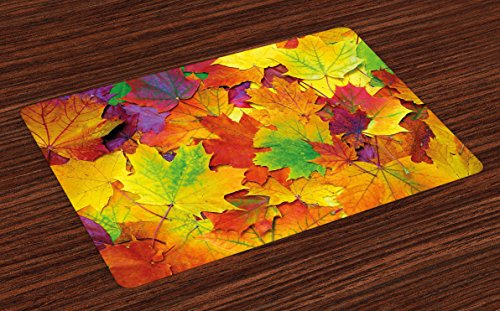 Ambesonne Fall Place Mats Set of 4, Different Colored Vibrant Many Autumn Maple Leaves Nature in November Scenery Photo, Washable Fabric Placemats for Dining Room Kitchen Table Decor, Yellow Purple