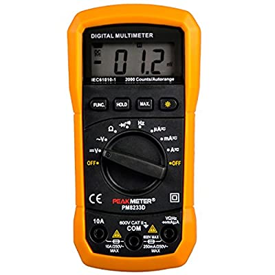 PEAKMETER MS8233D Digital Multimeter Autoranging AC DC Voltage Tester 2000 Counts With Frequency Temperature