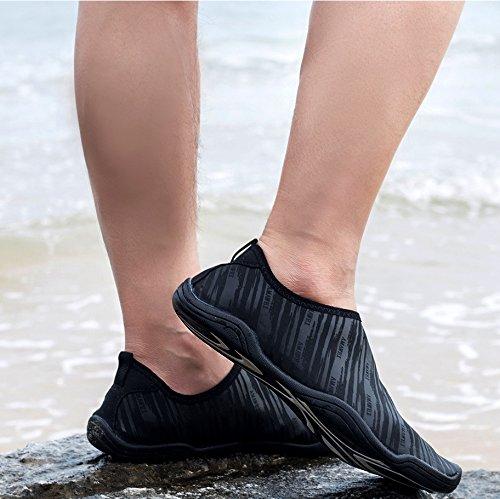 VAMV Water Shoes for Kids Boys Girls Quick Drying Beach Swim Shoe Sneakers Slip On Aqua Sock(Little Kid/Big Kid) (4, Black) by VAMV (Image #3)