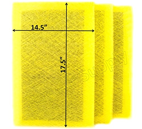 RAYAIR SUPPLY 16x20 MicroPower Guard Air Cleaner Replacement Filter Pads (3 Pack) Yellow