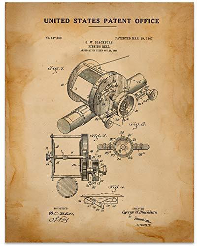 Fishing Reel Wall Decor - 11 x 14 Unframed Patent Print - Great Gift for your favorite Fisherman ()