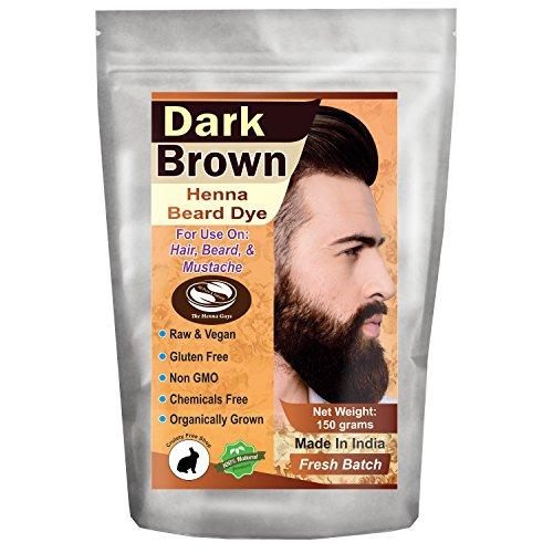 1 Pack of Dark Brown Henna Beard Dye for Men - 100% Natural & Chemical Free Dye for Hair, Beard & Mustache - The Henna Guys