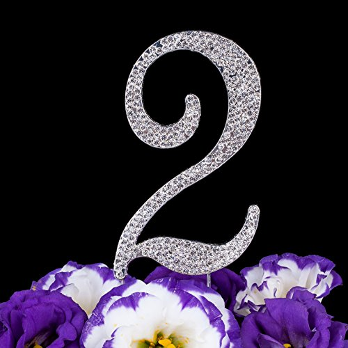 LOVENJOY with Gift Box Number 2 2nd Sparkly Crystal Rhinestone Happy Wedding Anniversary Birthday Cake Toppers Silver (2.8-inch)