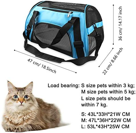 PUBAMALL Pet Carriers, Portador de Gatos, Bolsa de Mascotas Plegable portátil para Perros, Cremallera bloqueable y Bolsa de Hombro (M: 47 * 30 * 23 cm, Azul con tapete) 4