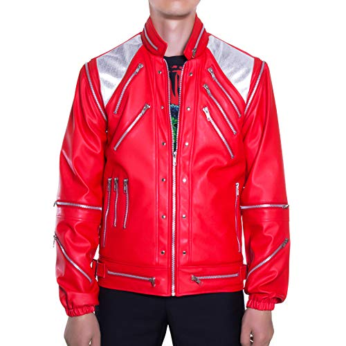 Mjb2c-Michael Jackson Costume Beat it Metal Zipper Leather Jacket/Red/Small