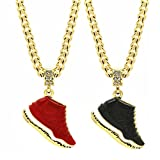 L & L Nation Mens Gold Plated Hip Hop Retro 11 Shoes Pendant 6mm 24' Cuban Chain Set of 2 (Gym Red + Space Jams)