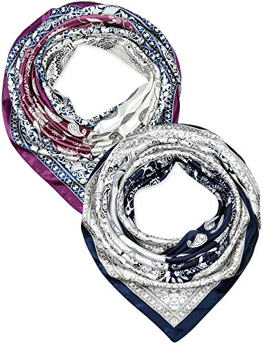 2 Pcs 35 Inches Silk Feeling Tyrian Purple Navy White Paisley Design Square Scarf Hair Scarves