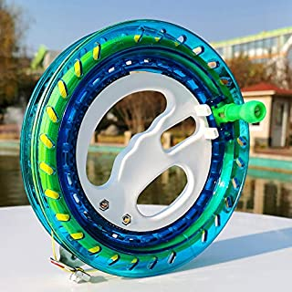 HENGDA KITE Professional Outdoor Kite Line Winder Winding Reel Grip Wheel with 650 Feet (60LBS) Flying Line String Flying Tools with Lock for Kids and Adults (Blue, 7.2 Inch)