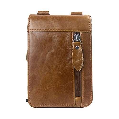 Zhuhaitf Mens Unisex Cowhide Leather Soft Mini Waist Bag Shoulder Bag Crossbody Bag for Halloween Gift Brown