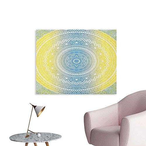 Anzhutwelve Blue and Yellow Photographic Wallpaper Ombre Mandala Oriental Universe Spirit and Ritual Themed Symbol Image Art Cool Poster Blue Yellow W36 xL32