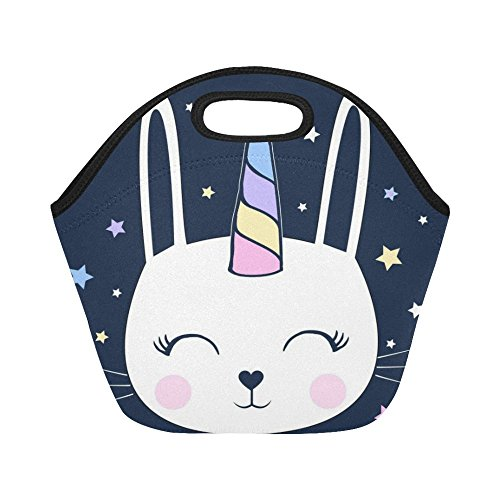 InterestPrint Lunch Bags Unicorn Bunny Lunch Bag Lunch Box Lunch Tote For Adult Teens Men Women