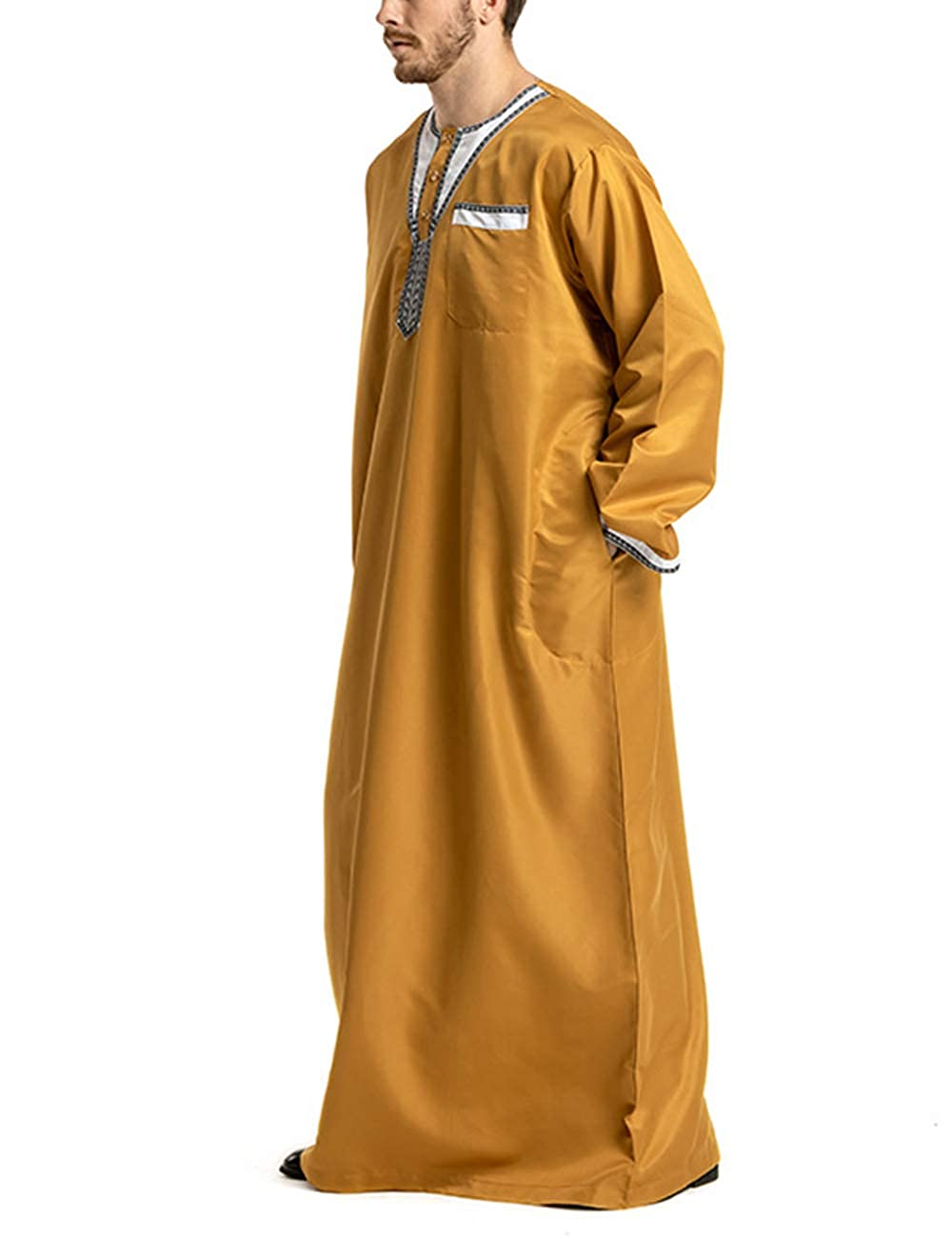 Zhhlaixing Abbigliamento da Uomo Musulmano Girocollo Manica Lunga Thobe Arabo Saudita Solido Abito Islamico di Dubai per Un Matrimonio Kaftan Jalabiya Caftan