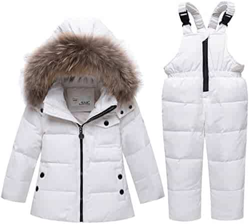 d4289b15f765 JELEUON Baby Girls and Boys Winter Warm Hooded Fur Trim Zipper Snowsuit  Puffer Down Jacket with