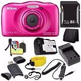 Nikon COOLPIX S33 Digital Camera (Pink) (International Model) + EN-EL19 Battery + External Charger + 16GB SDHC Card + Floating Strap + Card Reader + Card Wallet Saver Bundle