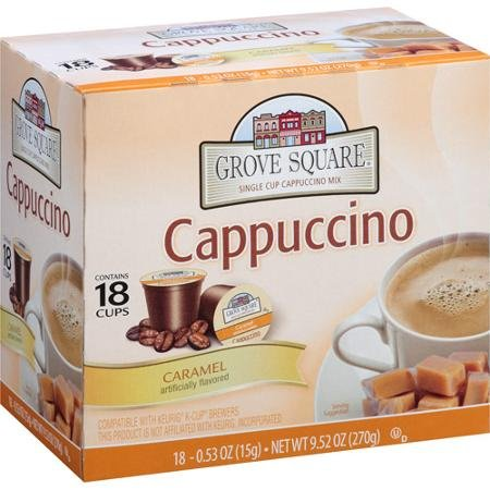 Grove Square Caramel Single Cup Cappuccino Mix, 18 Count, 9.52 Oz (Keurig Vue Cups Cappuccino compare prices)
