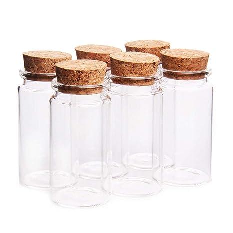 Danmu Art - Juego de 6 tarros de cristal de 100 ml con tapones de corcho