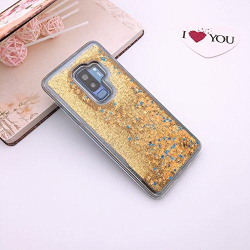 0.5' Tank Adapter - Samsung Galaxy S9 Plus case, KMISS Twinkle Glitter Star Liquid Flowing Floating Dynamic Luxury Bling Glitter Soft TPU Bumper Case For Samsung Galaxy S9+ Plus (Star Gold)