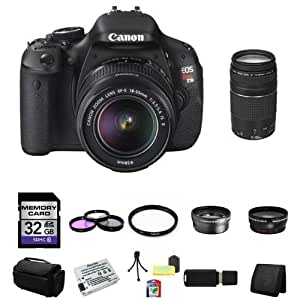 Canon EOS Rebel T3i Digital SLR Camera with EF-S 18-55mm f/3.5-5.6 IS Lens & Canon 75-300 f/4-5.6 III Lens 32GB Green's Camera Package 8
