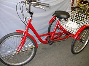 """Tricycle Adult 24"""" 6 Speed RED"""