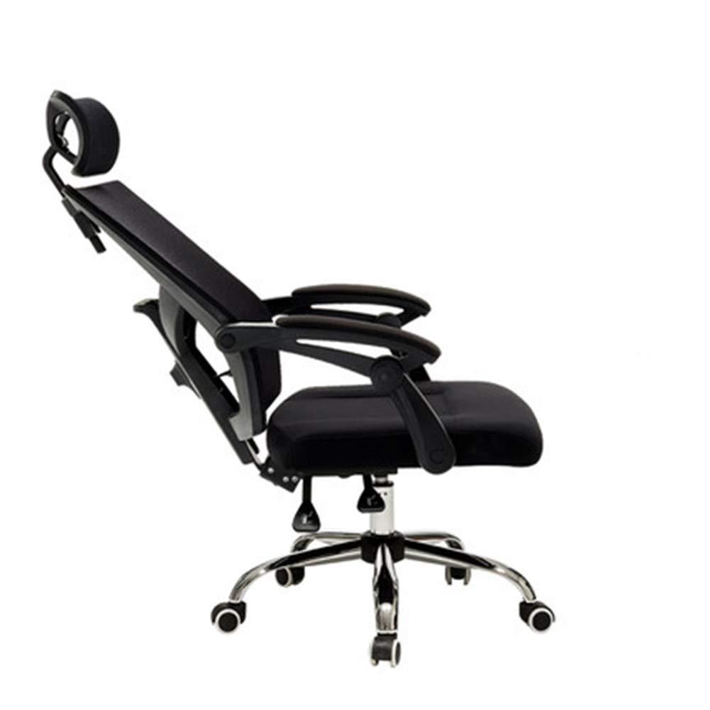 人間工学に基づいた椅子、高さ調整可能、ゲームチェアメッシュ素材、ホーム/オフィスに最適、360°回転、ペダル付き、組み立てが簡単 B07RXP82S1 Black without footrest