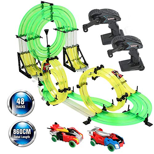 RC Car with Track,Syslux Racing Track Car, Car Race Track Sets Speeding Racing Car with 3D Track,2 Cars, 2 Hand-Operated Controllers, Assembly for Children Educational Toy Birthday from Syslux