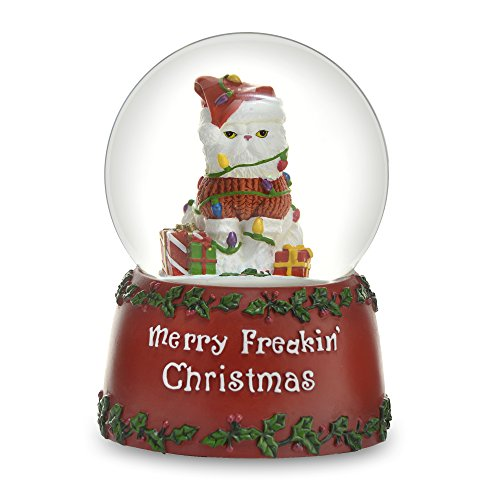 THE SAN FRANCISCO MUSIC BOX COMPANY Freakin' Christmas Kitty 100mm Water -