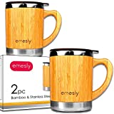 Stainless Steel Bamboo Coffee Mugs with Handle & Spill Resistant Lids (Set of 2), Natural Wood Wooden Light Unbreakable Design Eco Friendly Insulated Coffee Tea Travel Mugs; 11 Oz.
