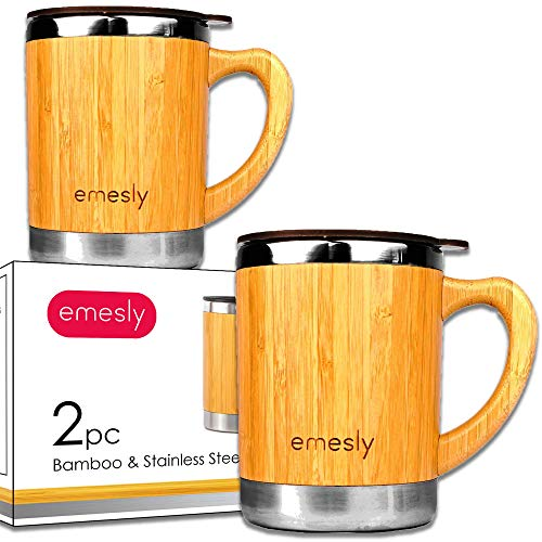 (Stainless Steel Bamboo Coffee Mugs with Handle & Spill Resistant Lids (Set of 2), Natural Wood Wooden Light Unbreakable Design Eco Friendly Insulated Coffee Tea Travel Mugs; 11 Oz.)