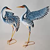 Bits and Pieces – Set of Two (2) Solar Powered LED Light-up Blue Cranes Garden Statues – Metal Cranes Perfect Garden Décor – Metal Garden Art, Outdoor Lawn and Patio Décor Review