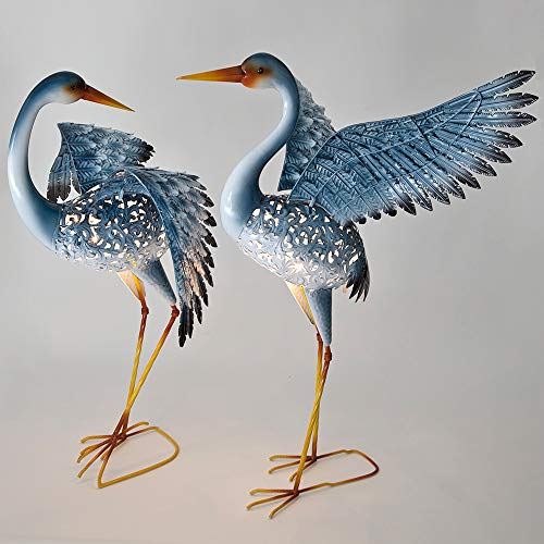 Bits and Pieces – Set of Two (2) Solar Powered LED Light-up Blue Cranes Garden Statues – Metal Cranes Perfect Garden Décor – Metal Garden Art, Outdoor Lawn and Patio Décor