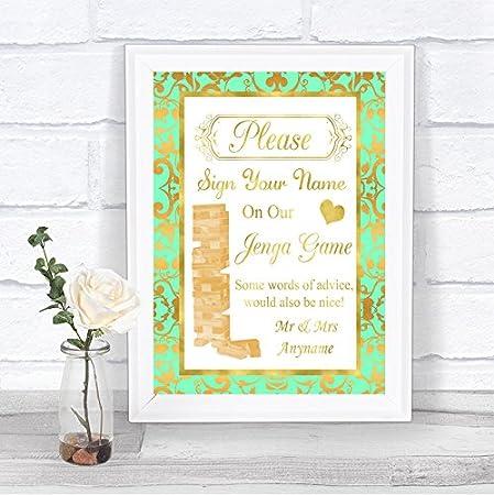 Menta verde y oro juego Jenga mensaje personalizado boda cartel impresión Medium A4: Amazon.es: Oficina y papelería