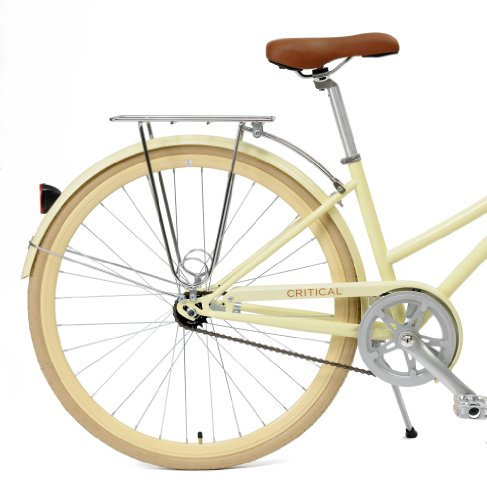 Critical Cycles Dutch Style Step-Thru 1-Speed Hybrid Urban Commuter Road Bicycle, Cream, Small/38cm