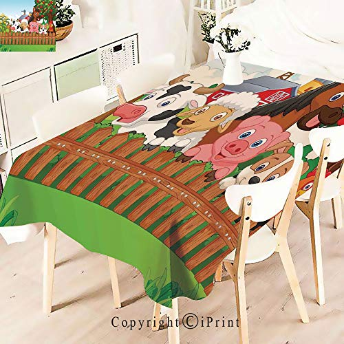 Tablecloth -for Home, Restaurants, Cafés -Animals on The Fence Comic Mascots- Be it for Everyday Dinner Picnic or Occasions Like Thanksgiving,W55 xL83,Multi