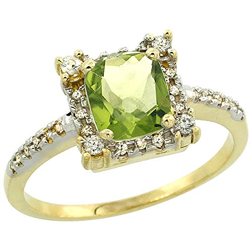 10k Yellow Gold Natural Peridot Ring Cushion-cut 6x6mm Diamond Halo, size 10