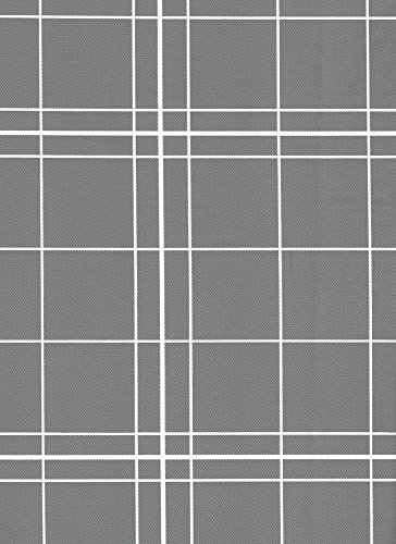 White Lines Flannelback Vinyl Tablecloth in Gray, 60x84 Oblong (Rectangle) ()