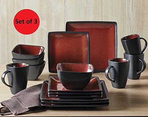 Better Homes & Gardens Red & Black Weston Dinnerware Set – 16 Piece