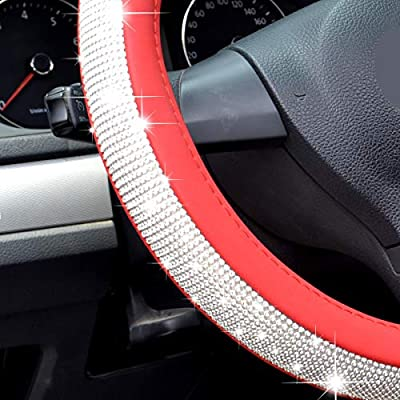 Cute Rhinestones Bling Steering Wheel Cover For Women Girls, Universal 15inch Crystal Leather SUV Car Wheel Protector A (red steering wheel cover): Automotive