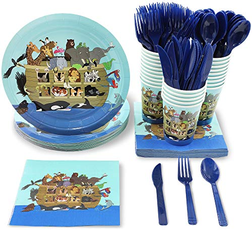 Blue Panda Noah's Ark Animals Baby Shower Party Supplies - Plates, Knives, Spoons, Forks, Napkins, and Cups, Serves ()