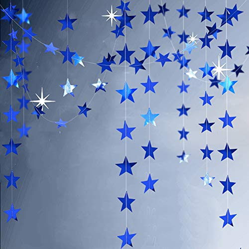 Blingbling Reflective Blue Star Garlands Streamer/Bunting/Backdrop Party Decoration Stars Hanging Decor for Frozen Birthday/Blue Silver Wedding/Engagement/Royal Baby Shower/Kids Room/Home Decorations]()